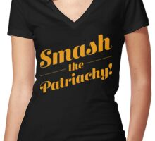 Smash the Patriarchy! Women's Fitted V-Neck T-Shirt