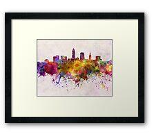 Cleveland skyline in watercolor background Framed Print