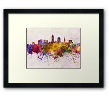 Cleveland skyline in watercolor background Framed Print