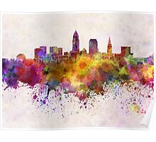 Cleveland skyline in watercolor background Poster
