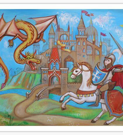 Knight, dragon and castle  Sticker