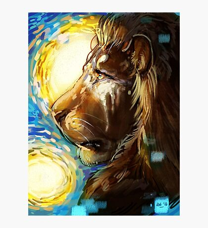 Starry Night Lion Photographic Print