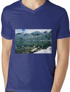 Early Snow at Nymph Lake Mens V-Neck T-Shirt