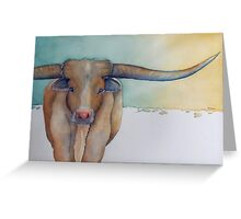 """LONESTAR LONGHORN"" at Dawn Greeting Card"