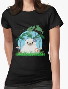 Super Cute White Sloth sitting down Womens Fitted T-Shirt