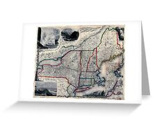 0055 Railroad Maps Sherman Smith's railroad steam boat stage route map of New England New-York and Greeting Card