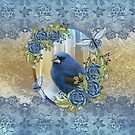 Queen Size Bluebird Lace And Ice Duvet Cover  by Moonlake