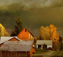 storm clouds over farm Sticker