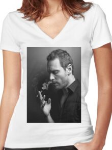 Michael Fassbender Women's Fitted V-Neck T-Shirt