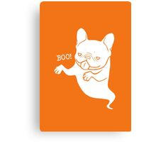Frenchie Boo Boo Halloween Ghost Canvas Print