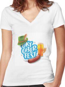 Oktoberfest design Women's Fitted V-Neck T-Shirt