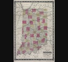 0111 Railroad Maps Johnson's map of Indiana showing the rail roads and townships compiled from the latest best Unisex T-Shirt