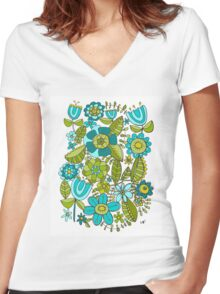 Botanical Doodles Women's Fitted V-Neck T-Shirt