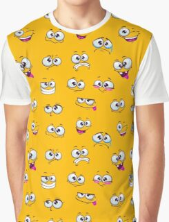 Seamless pattern with funny cartoon faces Graphic T-Shirt