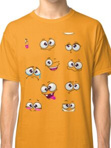 Seamless pattern with funny cartoon faces Classic T-Shirt