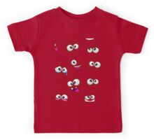 Seamless pattern with funny cartoon faces Kids Tee