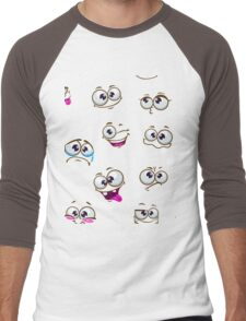 Seamless pattern with funny cartoon faces Men's Baseball ¾ T-Shirt