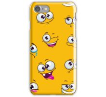 Seamless pattern with funny cartoon faces iPhone Case/Skin