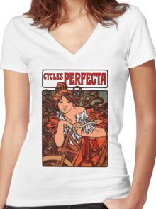 """PERFECTA BICYCLE"" Vintage Advertising Print Women's Fitted V-Neck T-Shirt"