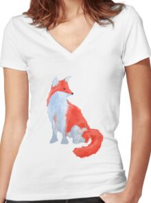 Cut Fox with Fluffy Tail Women's Fitted V-Neck T-Shirt