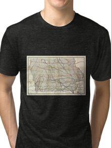 0117 Railroad Maps Railroad map of Tri-blend T-Shirt