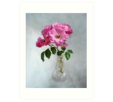 Deep Pink Roses in a Clear Glass Vase Art Print