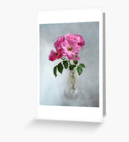 Deep Pink Roses in a Clear Glass Vase Greeting Card