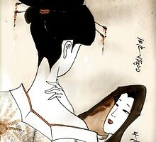 geisha and mirror by Leti Mallord