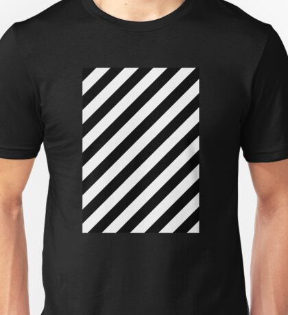 Caution Stripes Black and White Unisex T-Shirt
