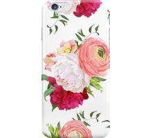 Burgundy red and white peonies, ranunculus, rose seamless vector pattern.  iPhone Case/Skin