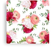 Burgundy red and white peonies, ranunculus, rose seamless vector pattern.  Canvas Print