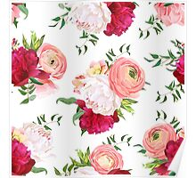 Burgundy red and white peonies, ranunculus, rose seamless vector pattern.  Poster