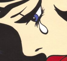 Black Curl Crying Comic Girl Sticker