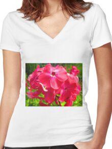 Vivid Pink Phlox Women's Fitted V-Neck T-Shirt