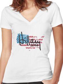 Hillary 2016 - USA Flag Women's Fitted V-Neck T-Shirt