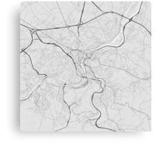 Liege, Belgium Map. (Black on white) Canvas Print