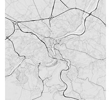 Liege, Belgium Map. (Black on white) Photographic Print