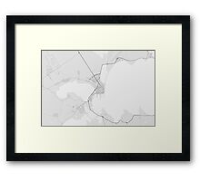 Burgas, Bulgaria Map. (Black on white) Framed Print