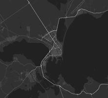 Burgas, Bulgaria Map. (White on black) by Graphical-Maps