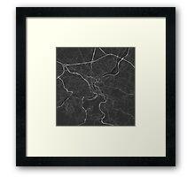 Liege, Belgium Map. (White on black) Framed Print