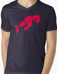 Girl With Trex Mens V-Neck T-Shirt