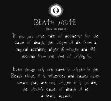 Death Note Rule 10 Kids Clothes
