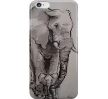 Mama Elephant & Baby - ink wash painting on vintage paper iPhone Case/Skin