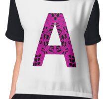 Pink,Black,Letter,Initial,A,Alphabet,Lace Chiffon Top