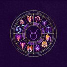 Taurus - Zodiac Lightburst Circle by ifourdezign
