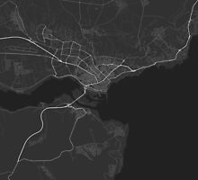 Varna, Bulgaria Map. (White on black) by Graphical-Maps