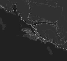 Dubrovnik, Croatia Map. (White on black) by Graphical-Maps