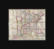 0016 Railroad Maps A new map of the United States Upon which are delineated its vast works of internal communication routes across the continent c showing also Canada and Unisex T-Shirt