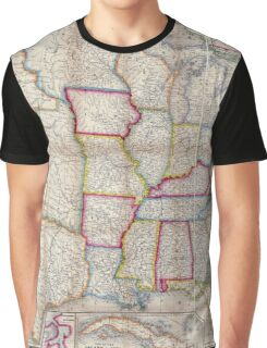 0016 Railroad Maps A new map of the United States Upon which are delineated its vast works of internal communication routes across the continent c showing also Canada and Graphic T-Shirt
