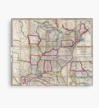 0016 Railroad Maps A new map of the United States Upon which are delineated its vast works of internal communication routes across the continent c showing also Canada and Canvas Print